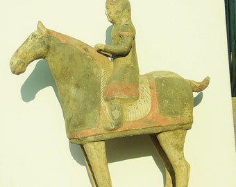 Antique Chinese Gray Pottery Horse and Rider