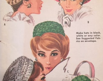 Vintage 60s Smocked Pillbox Hat Millinery Chapeaux Smocking Sewing Pattern McCall's 6515
