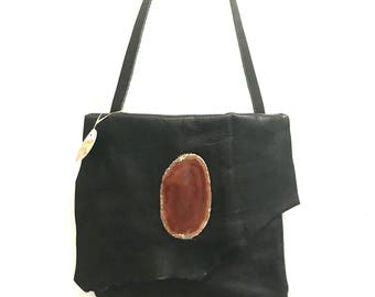 Black Leather Handbag, Black Leather Purse, Black Handbag
