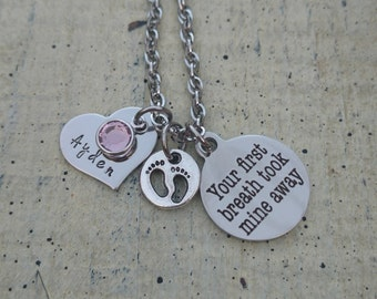 Hand stamped name Son daughter child mother pendant charm necklace with birthstone crystal / Custom Personalized baby mommy Jewelry