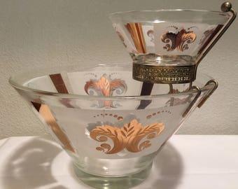 Chip and Dip Bowls Set Mid Century Gold Fleur de Lis Anchor Hocking