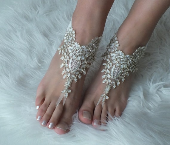 d53a1e979d78a barefoot barefoot gold ivory anklets shoes prom gift Beach sandals ...