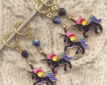 Black Unicorn Knitting Stitch Markers Mythical Magical Creatures Set of 4 /SM281