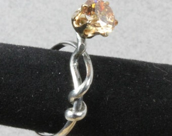 Sterling Silver Vine Ring with Amber CZ