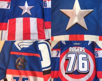 CUSTOM Captain America Avengers Hockey Jersey, Blue, 5-8 Weeks