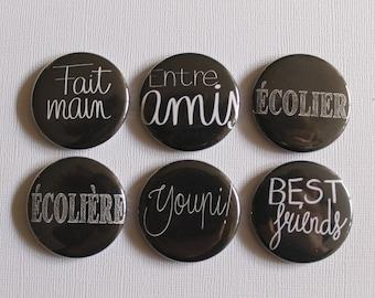 """BADGES """"School"""", hand, (flat back) scrapbooking embellishment, brooch (PIN back), magnet (magnetic back)"""