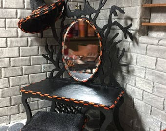 Halloween Dressing Table, Stool and Witches Hat All in One Inch Scale for a Halloween Dollhouse