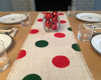 "16"" Wide Christmas Burlap Table Runner, Red and Green Burlap Table Runner, Christmas Burlap Runner, Christmas Table Runner, Christmas Decor"