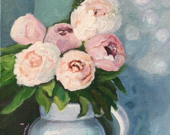 Morning Peonies - Renee Brennan, pink flowers, floral art, mother's day, cottage, farmhouse, pink peonies