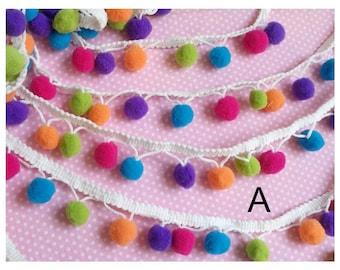 """5y 1/2"""" Pom Pom Trim (1"""" wide) Pom Pom Ball fringe Rainbow Trim Ribbon Sewing-(U PICK)"""