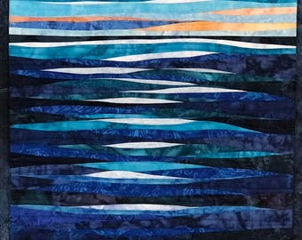 Art Quilt Moon Shadows over Water, Wall Quilt, Wall Hanging