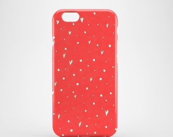 Coral Hearts mobile phone case / iPhone X, iPhone 8, iPhone 7, iPhone SE, iPhone 6/6S, iPhone 5S/5 / cute phone case / Valentine's gift