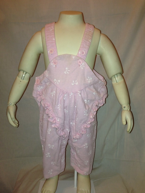 Vintage 80s Babies Pink Bow Overalls