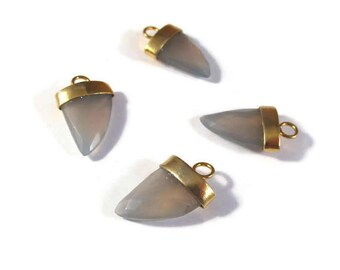 Gray Chalcedony Pendant Point, One Gold Plated Bezel Set Pendant, 20mm x 13mm, Faceted Gemstone Charm for Making Jewelry (C-Ch8b)