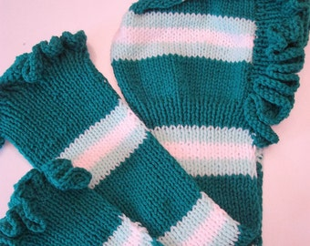 Hand Knitted Hat/Scarf, Girl's 7-9 years, Green Colors, New