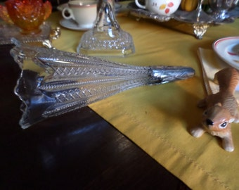 Large Victorian EAPG Patterned Glass Epergne Vase/Horn or Automobile Bud Vase with Silverplate Holder-Zipper Pattern