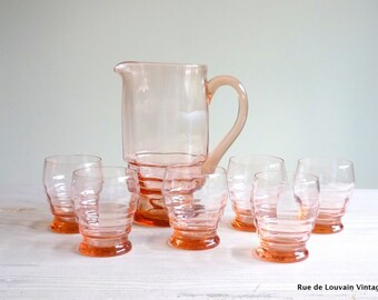 Pink glass pitcher set, Art Deco glass pitcher and six glasses, vintage drinks  set, pink glass jug and glasses