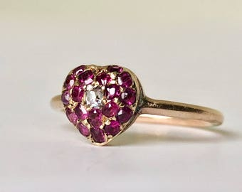 An Antique Ruby Heart Ring, antique ruby, antique ring, red ruby ring, ruby and diamond ring, engagement ring, diamond engagement ring