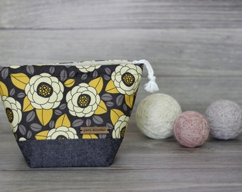 Knitting Project Bag | Yellow Grey Floral Sock Sack Yarnmonster Knitting Project Bag
