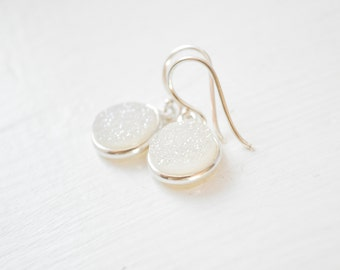 White Druzy Bridesmaid Earrings, Druzy Drops, Druzy Earrings, White Earrings