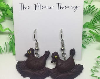chicken hen chocolate easter earrings polymer clay