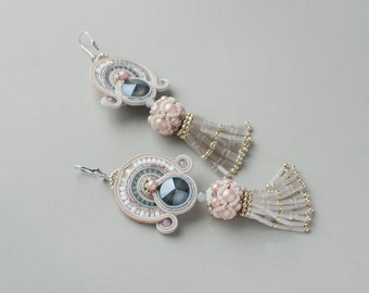 Soutache dangle long earrings with tassels, Pink, white and gray earrings, Embroidered beaded jewelry Swarovski bridal jewelry FREE SHIPPING