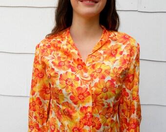 """Vintage 1950's Orange Floral Silk Blouse by """"Rosecrest of NY"""" (#17-3)"""