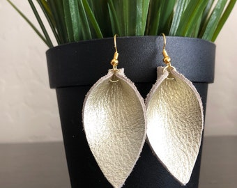 Metallic gold leather petal earrings / leather leaf earrings / champagne gold leather