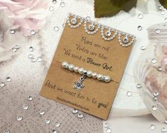 Will You Be My Flower Girl Bracelet, Flower Girl Bracelet, Flower Girl Pearl Bracelet, Flower Girl Gift, Flower Girl Proposal, Flower Girl