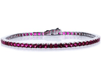 2.5mm Rhodium Plated Silver 3.6ct Round CZ Simulated Ruby Tennis Bracelet 7.25in(CSB013RD25WG-RB)