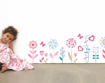 Flower Wall Decals - Girls Room Wall Decal - Teen Girl Room Wall Decal - Flower Decal - Wall Stickers - Custom Decal Wall Graphics - 06-0002