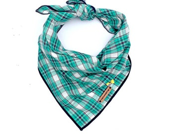 Dog, Dog bandana, plaid dog bandana, pet bandana, puppy, dog scarf, plaid dog scarf, green dog bandana, XL bandana, dog accessories: NILAK