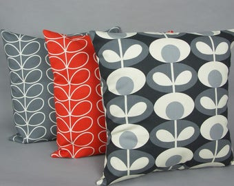 Cushion cover - made with a cotton fabric in a variation of Orla Kiely fabrics. Sizes 40, 45, 50 cm - 16, 18, 20 inch