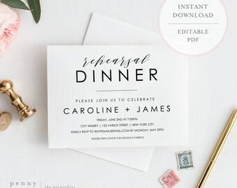Rehearsal Dinner Invitation. Rehearsal Dinner Invitation Template. Rehearsal Dinner Invites. Rehearsal Dinner Instant Download. (SH)