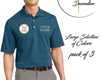Custom Embroidered Quick Dry Polo - Logo & Name - Performance Shirts - 3 Pack