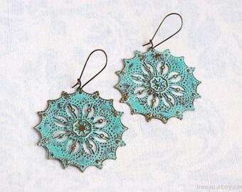 Blue patina earrings Aqua blue dangle earrings Vintage Metal lace filigree earrings Turquoise drop earrings Long boho style bohemian earring