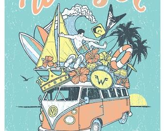 Weezer Blue Summer Tour 2016 Surf Beach Gigposter Poster by GIGART