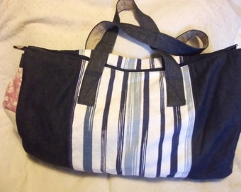 Denim and patchwork weekend Bag