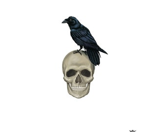 Skull with Raven Wickedly Lovely Skin Art Temporary Tattoo ( includes 2 tattoos)