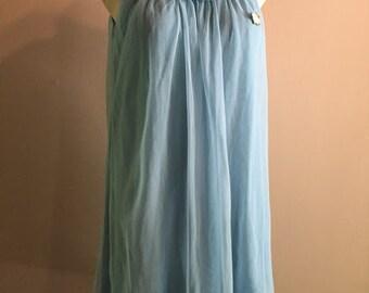 1960s Blue Nylon Nightgown