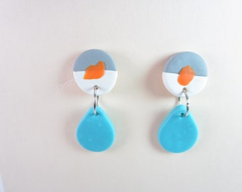 Robins egg geometric earrings, robins egg earrings, statement earrings, modern earrings, unique stud 60s earrings polymer clay animal simple