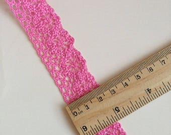 Lace cotton pink color, 2.5 cm sold per meter, 100% cotton lace pink lace Ribbon 25mm