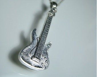 Electric guitar necklace sterling silver guitar necklace guitarist necklace guitar fan necklace guitar player necklace