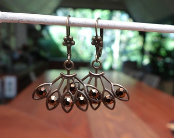 Bronze Metallic Swarovski Rhinestone Fan Earrings – ERU085