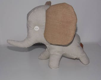 Funny elephant beige and Brown fabric