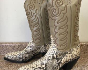 SUMMER SALE Tony Lama Men's Size 10 1/2 D BOA Bkct, Natural Skin Kittytan, Bone Western Cowboy Boot