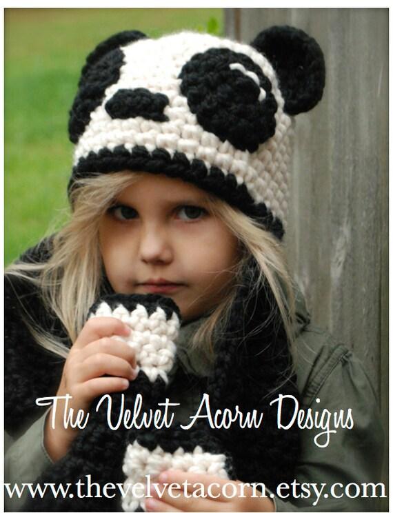 Crochet Pattern The Paige Panda Hatscarf Toddler Child And
