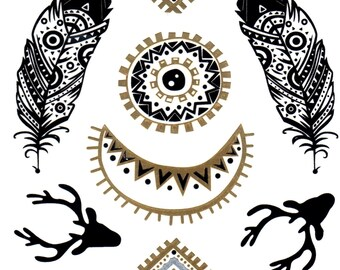 Gipsy set of gold and silver temporary tattoos