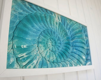 "Ammonite Frame-FREE UK SHIPPING-Turquoise/Blue Landscape Frame45x25cm (17""x10"")-Ammonite Fossil Nautilus-Glass Framed Picture"