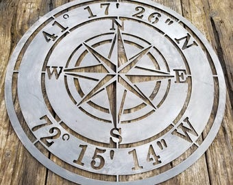 Compass Rose, Nautical, Personalized Metal Sign